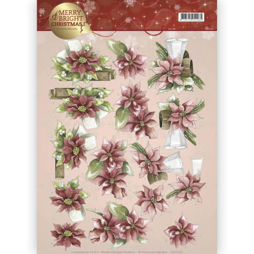 POINSETTIA IN RED PRECIOUS MARIEKE 3D PUSH OUT DECOUPAGE FOR CARDS /& CRAFTS