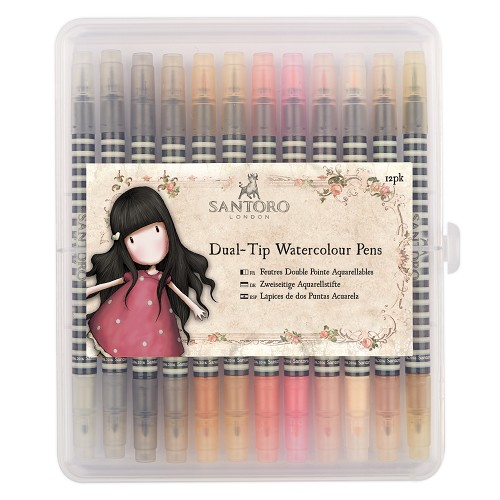 12pk Brush /& Marker DOA 851303 Watercolour Dual Tip Pens