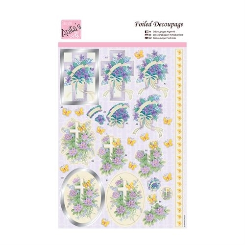 ANITAS FOILED DECOUPAGE FOR CARDS OR CRAFTS FLORAL CHURCH YARD